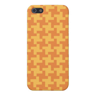 Chic Orange Dogstooth Check Pattern iPhone 5 Cover