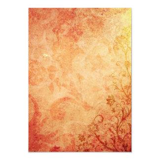 Chic Orange Floral Texture 13 Cm X 18 Cm Invitation Card