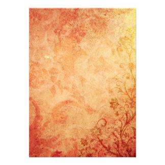 Chic Orange Floral Texture Invitation