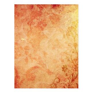 Chic Orange Floral Texture Post Cards