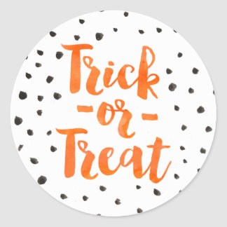 Chic Orange Watercolor Trick Or Treat Halloween Round Sticker