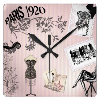 Chic Paris Vintage Fashion Square Wall Clock