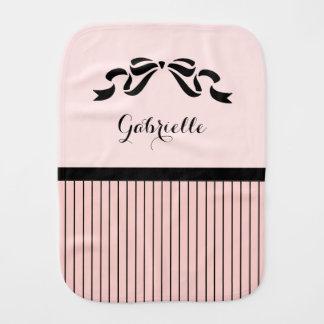 Chic Parisian Pink Pinstripes Black Bow Baby Name Baby Burp Cloths