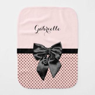 Chic Parisian Pink Polka Dots Black Bow Baby Name Baby Burp Cloths