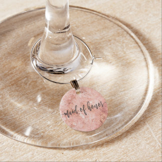 Chic Peach Marble Watercolor Wedding Maid of Wine Charm