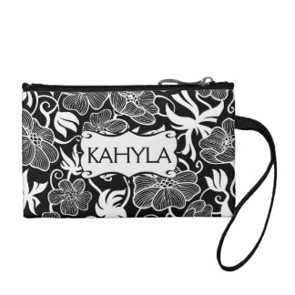 Chic Personalized Black  White Flower Pattern Coin Purse