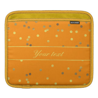 Chic Personalized Faux Gold Foil Confetti Orange iPad Sleeves