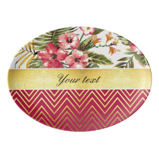Chic Personalized Hibiscus and Chevrons Porcelain Serving Platter
