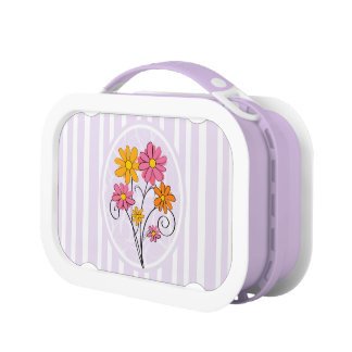 Chic pink and orange flowers and stripes lunch box