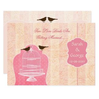 Chic pink bird cage, love birds invites