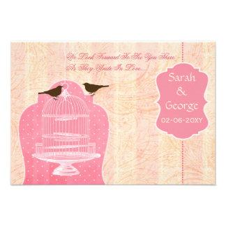 Chic pink bird cage, love birds RSVP 3.5 x 5 Invites