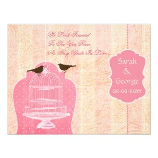 Chic pink bird cage, love birds RSVP Invites