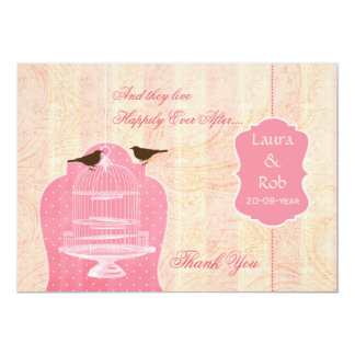 Chic pink bird cage, love birds Thank You Card