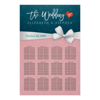Chic Pink Blue White Ribbon Wedding Seating Chart Poster