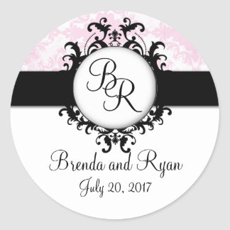 Chic Pink Damask Initial Wedding Sticker