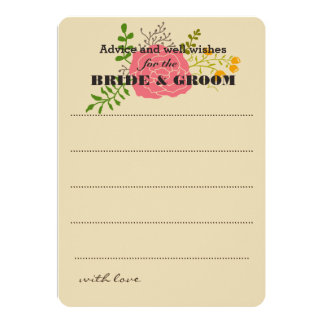 Chic Pink Flower Green Leaves Wedding Advice Card