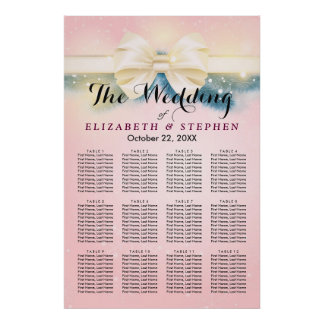 Chic Pink Gold Ribbon Pines Wedding Seating Chart Poster