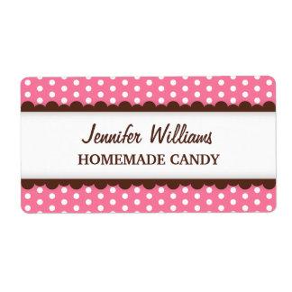 Chic pink polka dot dots pattern canning jar label shipping label