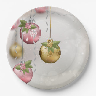 Chic Pink Silver Gold Ornaments Holly Glow Paper Plate