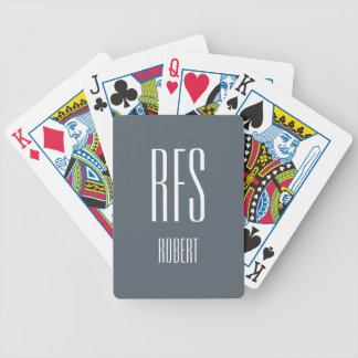 CHIC PLAYING CARDS_STEEL GRAY/WHITE MONOGRAM/NAME BICYCLE PLAYING CARDS