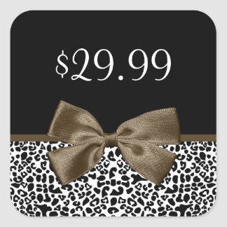 Chic Price Tags Brown Ribbon Trendy Leopard Print Square Sticker