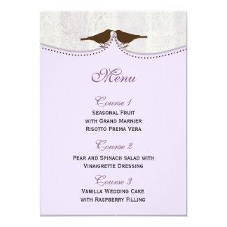 Chic purple bird cage, love birds Menu Cards Custom Invitation