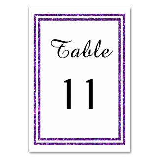 Chic Purple Faux Glittered Trim - Table Card
