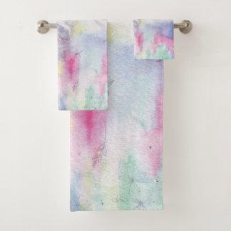 Chic Purple, Pink, Light Green Watercolor Wash Bath Towel Set
