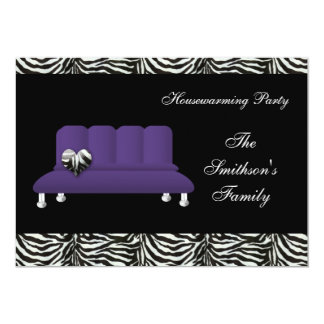 chic purple sofa , party Invitation