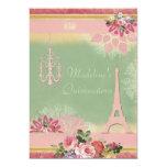 Chic Quinceañera Eiffel Tower and Chandelier 13 Cm X 18 Cm Invitation Card