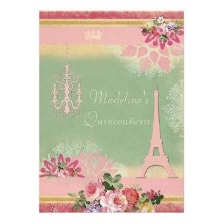 Chic Quinceañera Eiffel Tower and Chandelier Custom Invite