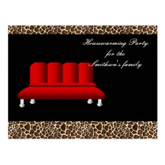 chic red sofa Housewarming party Invitation Postcard