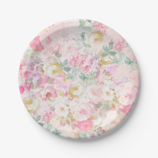 Chic retro pink white watercolor floral pattern paper plate