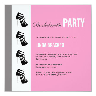Chic Rose Black High Heel Bachelorette Invitation