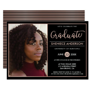 Chic Rose Gold & Black Graduation Party | Photo Card