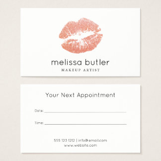 Chic Rose Gold Lips Makeup Artist Appointment Business Card