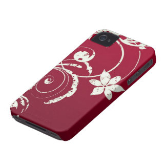 Chic Scarlet Red & Swirly Flower Desgin iPhoneCase iPhone 4 Cases