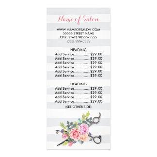 Chic Scissors Hairstylist Stripes Roses Price List Rack Card