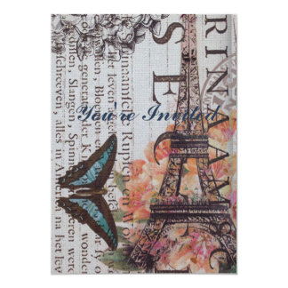Chic Scripts french butterfly Paris Eiffel Tower Card