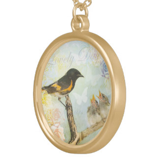 "Chic Shabby Design ""3 Birds "" Round Pendant Necklace"