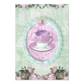 """Chic Shabby Green and lilac """"Tea Party """" 9 Cm X 13 Cm Invitation Card"""