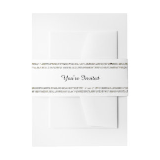 Chic Silver Glitter Trim - Belly Band Invitation Belly Band