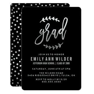 Chic Silver   Graduation Party Card