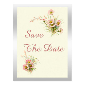 Chic Spring Flowers 50th Birthday Save The Date Postcard