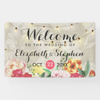 Chic String Lights and Linen Floral Wedding Banner