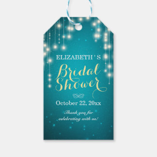 Chic String Lights Turquoise Glitter Bridal Shower Gift Tags