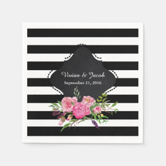 Chic Stripes and Peonies Wedding Napkin Disposable Napkins