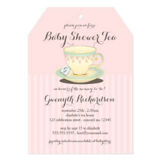 Chic Teacup on Pink Baby Shower Tea Party Card