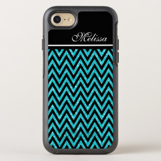 Chic Teal Blue Glitter Modern Black Chevron Stripe OtterBox Symmetry iPhone 7 Case