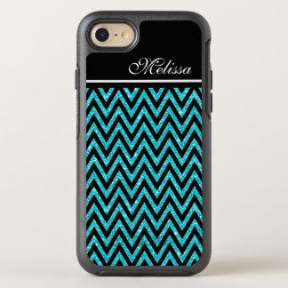Chic Teal Blue Glitter Modern Black Chevron Stripe OtterBox Symmetry iPhone 8/7 Case